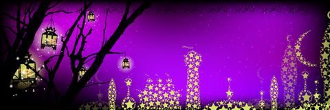 Ramadan. A lantern on a tree a lot stock illustration