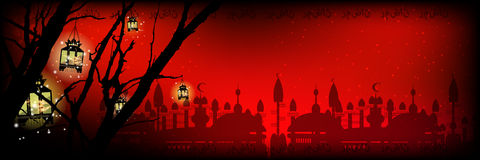 Ramadan. A lantern on a tree a lot Stock Photos