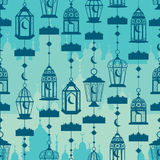 Ramadan lantern vertical hang conect seamless pattern. This illustration is silhouette Ramadan lantern vertical hang connect with Islamic building in seamless Stock Images