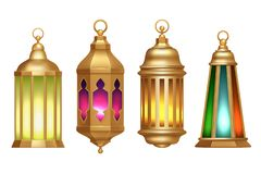 Ramadan Lanterns Ejemplos realistas islámicos musulmanes del vector de las lámparas 3d del vintage ilustración del vector
