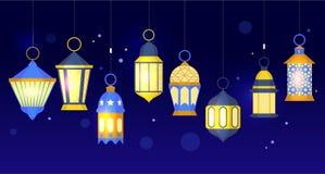 Ramadan Lanterns Row Vector Imagen de archivo libre de regalías