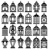 Ramadan Lanterns silhouettes. Set of 24 Ramadan Lanterns silhouettes  vector icons _  Happy Ramadan Stock Image