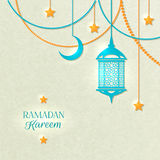 Ramadan Light Color Poster. With beads yellow lamp and stars hanging from the ceiling on gray background vector illustration