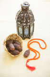 Ramadan light and dates stock photo