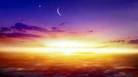 Ramadan . Light from sky . Religion background . Crescent moon with beautiful sunset background . Generous Ramadan . Light from sky . Religion background stock photography