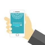 Ramadan is loading - EPS Vector. Hand holding smartphone with Ramadan loading progress bar - EPS Vector vector illustration