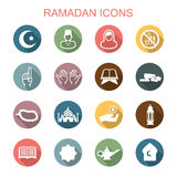 Ramadan long shadow icons. Flat vector symbols