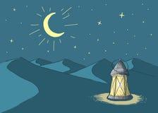 ramadan Lysande lykta i öken stock illustrationer