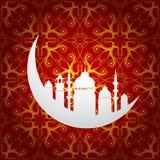 Ramadan miesiąca święty symbol z księżyc i meczetem ilustracji