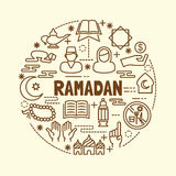Ramadan minimal thin line icons set Stock Image
