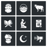 Ramadan - the month of fasting obligatory for Muslims icons set. Vector Illustration. Stock Photography
