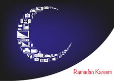 Ramadan Moon made of Electronic Appliances for Sale Promotions. Electronic products forming an Islamic Crescent Moon. Promotional Store Sale layout artwork for stock illustration