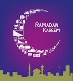 Ramadan Moon made of Electronic Appliances for Sale Promotions. Technological products forming a Crescent Moon with a mosque within a city. Promotional sale stock illustration
