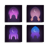 Ramadan. Mosque, night sky, shiny moon and stars. Arabic landscape view.Set of Illustrations for islamic holidays Royalty Free Stock Photo