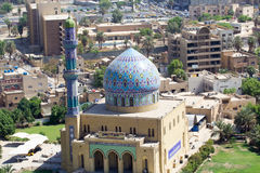 17 Ramadan Mosque. Picture of a mosque 17 Ramadan in Baghdad in Iraq, its contains a decorated dome and minaret