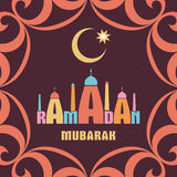 Ramadan mubarak card brown. Ramadan greeting card with the image of the mosque, minarets  and middle east ornament in Moorish style. Vector template Stock Image