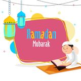 Ramadan Mubarak concept with young Islamic kid reading holy islamic book Quran, and hanging colorful lanterns on abstract