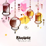 Ramadan Mubarak. Creative line art design with hanging lantern and stars on colourful texture background for holy month of muslim's community festival Ramadan