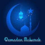 Ramadan Mubarak - de lantaarn en de moskee van de maanster op blauw Arabisch patroon royalty-vrije illustratie