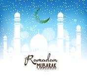 Ramadan Mubarak Design Background Illustrazione per la cartolina d'auguri, il manifesto e l'insegna Fotografia Stock