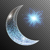 Ramadan mubarak design. Lens flare background with glowing lights, a crescent moon and star. Ramadan kareem arabic art vector illustration