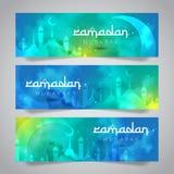 Ramadan Mubarak Islamic Greeting de la plantilla santa de la bandera del mes ilustración del vector