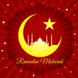 Ramadan mubarak - månestjärna och masjid på rött ljusvektorbakgrund Arkivbild