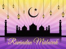 Ramadan mubarak - moon star lantern and masjid on violet vector background (Badshahi mosque) Royalty Free Stock Photos