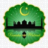 Ramadan Mubarak - moon star lantern and mosque on green and arabic pattern Stock Photography