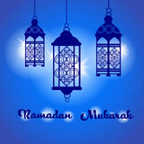 Ramadan Mubarak Night Blue Lantern Vector Images stock