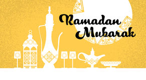 Ramadan Mubarak Teapot Yellow Background Vector Image libre de droits