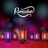 Ramadan mubarak vector design with colorful lanterns or fanoos. In dark night background. Vector illustration stock illustration