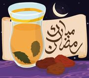 Ramadan Night with Arabic Tea, Dates and Scroll for Iftar, Vector Illustration. Traditional evening meal after the Ramadan fasting or Iftar: spearmint Arabic tea Stock Photography