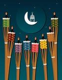 Ramadan Obor Puluh Pelita-de nachtkaart van de centrummarkering stock illustratie