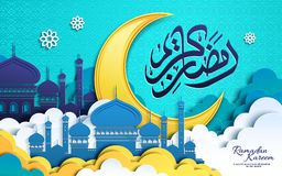 Ramadan poster design. Ramadan Kareem calligraphy design with mosque in clouds and crescent moon stock illustration