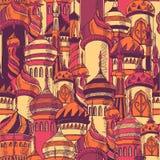 Ramadan powitania bezszwowy wzór z sylwetką meczet Multicolor bezszwowy tło kareem Ramadan kreatywnie Obrazy Royalty Free