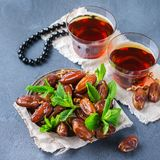 Ramadan ramazan kareem. Traditional arabic tea with mint and dates. For iftar party holidays Stock Images