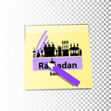Ramadan religion. Illustration for design. Mosque building black silhouette. With the text of Ramadan on the background of a sticker sheet. Sticky sticker with vector illustration