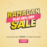 Ramadan Sale Banner Design with 40% Off Offers on beige backgrou. Nd Stock Photo