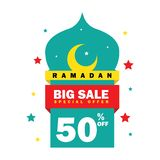 Ramadan sale banner,discount and best offer tag, label or sticker set on occasion of Ramadan Kareem and Eid. Ramadan sale banner,discount and best offer tag royalty free illustration