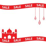 Ramadan sale banner with ribbons,discount and best offer tag, label or sticker set on occasion of Ramadan Kareem and Eid. Ramadan sale banner with ribbons royalty free illustration