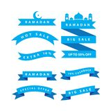 Ramadan sale banner with ribbons,discount and best offer tag, label or sticker set on occasion of Ramadan Kareem and Eid. Ramadan sale banner with ribbons vector illustration