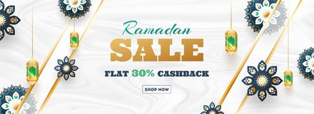 Free Ramadan Sale Flat 30 Cashback Header Or Banner Design. Decoration Of Beautiful Flower And Lantern On Smooth Wave Texture White Royalty Free Stock Image - 146915086