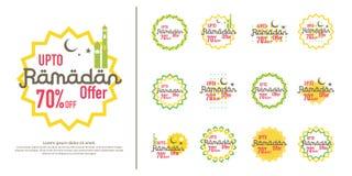 Ramadan sale offer banner set design. Promotion poster, voucher, discount, label, greeting card of Ramadan Kareem and Eid Mubarak. Celebration. background Stock Photography