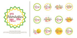 Ramadan sale offer banner set design. Promotion poster, voucher, discount, label, greeting card of Ramadan Kareem and Eid Mubarak. Celebration. background Royalty Free Stock Images