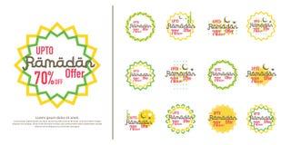Ramadan sale offer banner set design. Promotion poster, voucher, discount, label, greeting card of Ramadan Kareem and Eid Mubarak. Celebration. background Royalty Free Stock Image