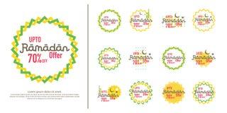 Ramadan sale offer banner set design. Promotion poster, voucher, discount, label, greeting card of Ramadan Kareem and Eid Mubarak. Celebration. background Stock Images