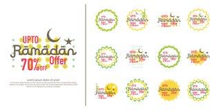 Ramadan sale offer banner set design. Promotion poster, voucher, discount, label, greeting card of Ramadan Kareem and Eid Mubarak. Celebration. background Royalty Free Stock Photos