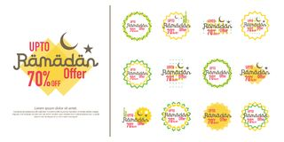Ramadan sale offer banner set design. Promotion poster, voucher, discount, label, greeting card of Ramadan Kareem and Eid Mubarak. Celebration. background Royalty Free Stock Photo