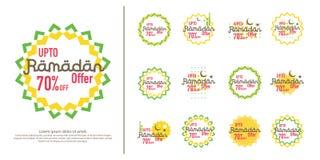 Ramadan sale offer banner set design. Promotion poster, voucher, discount, label, greeting card of Ramadan Kareem and Eid Mubarak. Celebration. background Stock Photos